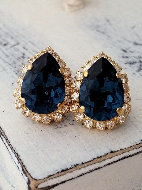 Navy Blue Earrings Stud Bridal Bridesmaid Gift Studs Swarovski Deep Gold Silver