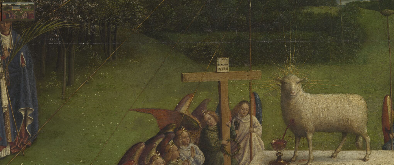 Van Eyck, Jan and Hubert, Ghent Altarpiece (detail), 1432, oil on wood panel, 350 x 460 cm frame included, St Bavo's Cathedral, Ghent, Belgium, image courtesy of Closertovaneyck.kikirpa.be.