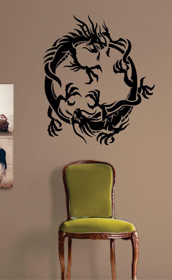 2 Dragons Design Decal Sticker Wall Vinyl Art Decor by BoopDecals