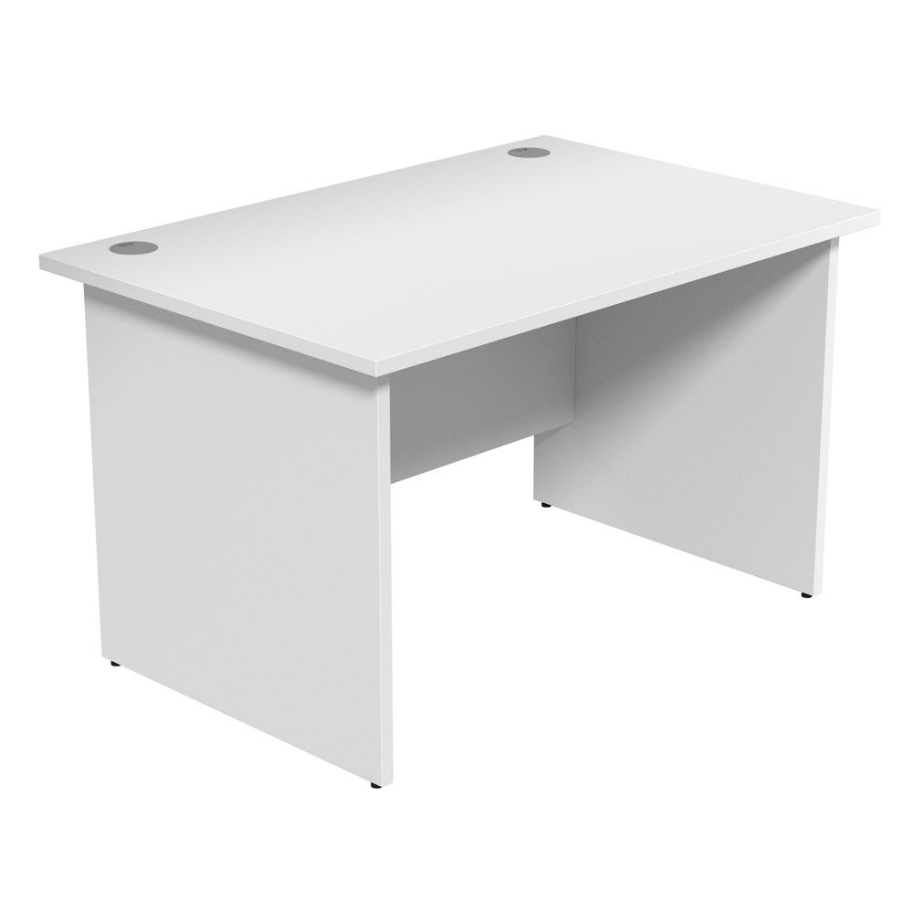 Unite White Desk Panel Legs Next Day Delivery With Cable Management Portholes For