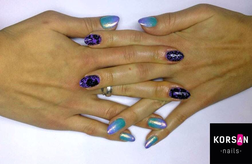 Hybrid manicure, nailsart, green and violet ombre, india, bollywood, mermaid effect ❤️