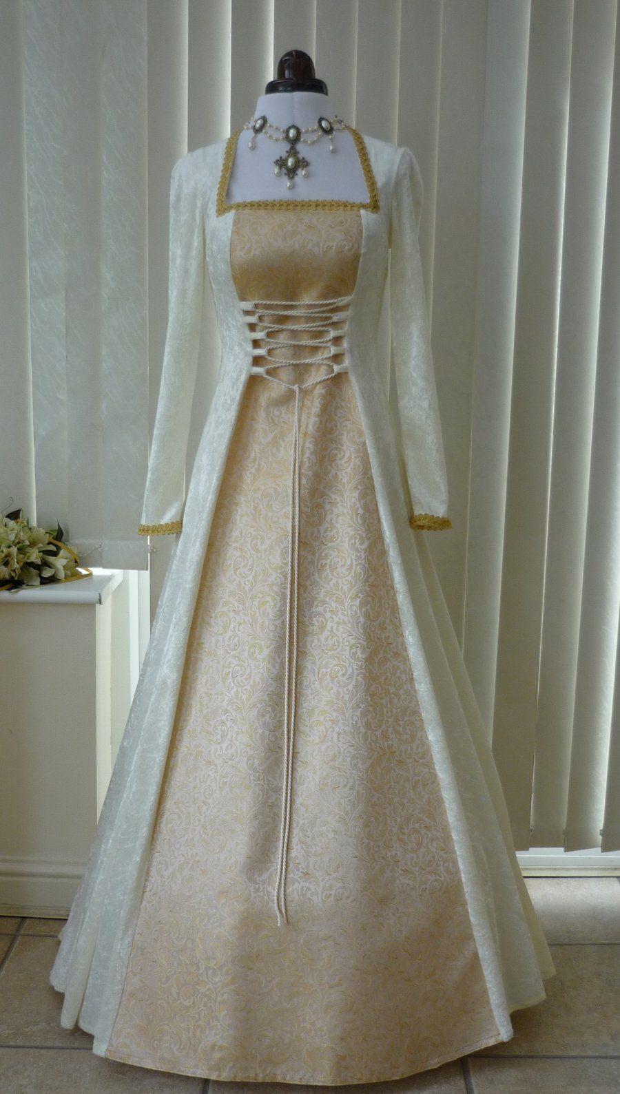 Medieval Pagan Cream & Gold Brocade wedding dress | different ...