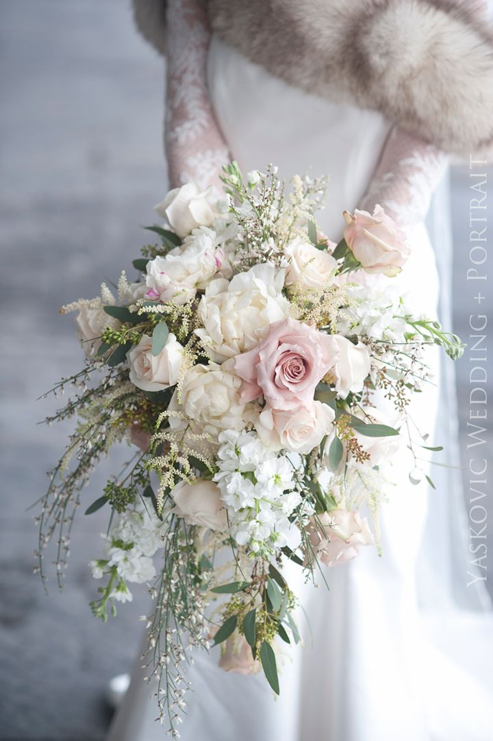 Exquisite Cascading Ivory and Pale Pink Winter Wedding Bouquet