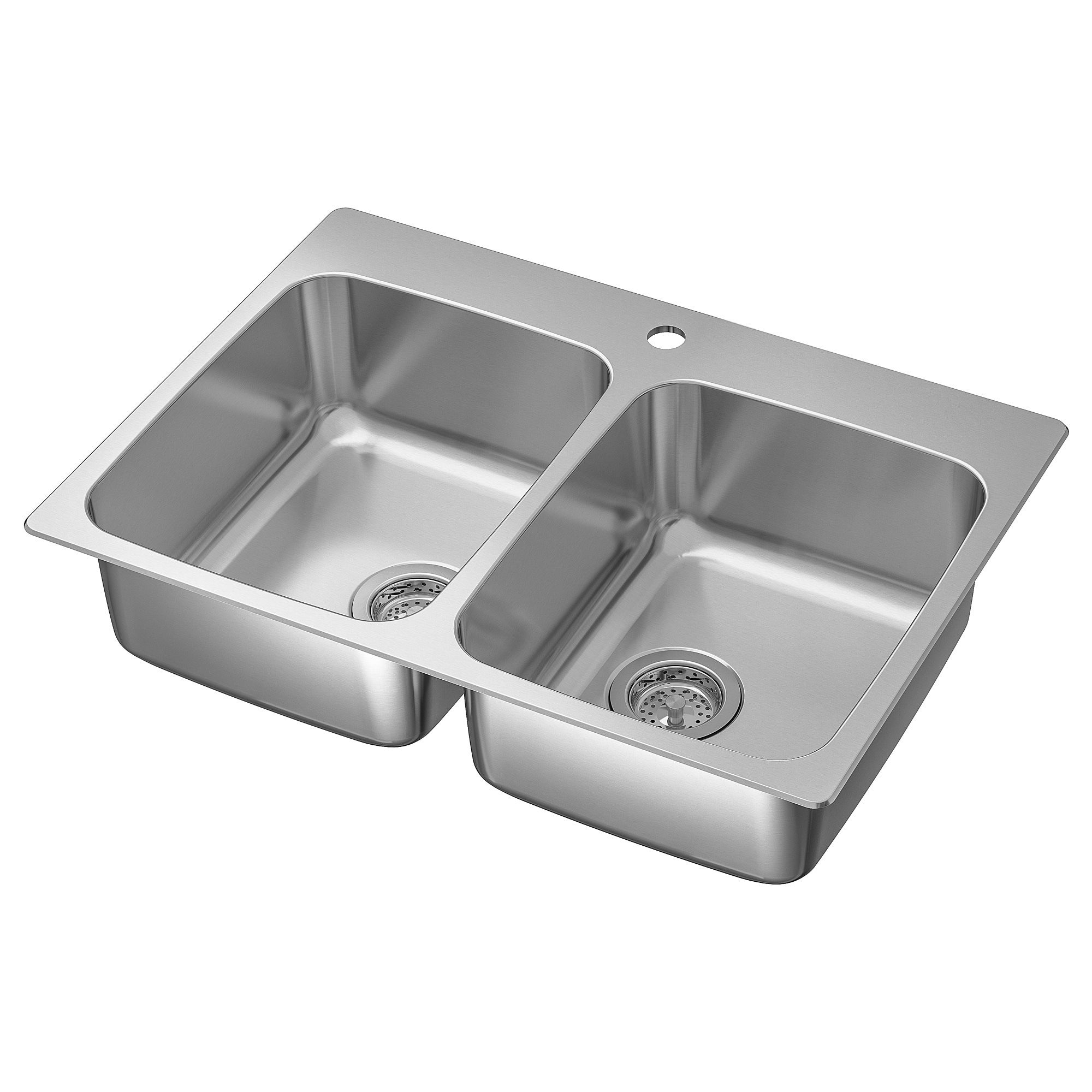 Langudden Double Bowl Top Mount Sink Stainless Steel 29 1 2x20 5