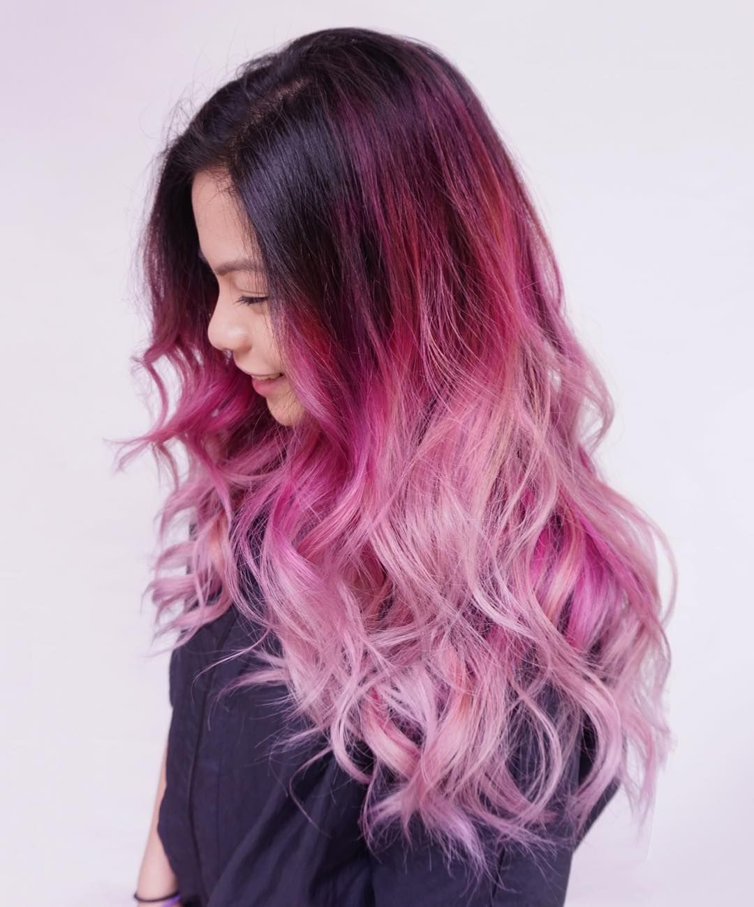 Pink hair with dark roots grab similar curls with a 32mm classic wand hair pinterest - Pastelltone wand ...