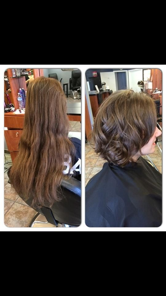 Before and after of a client that donated 10 inches of hair to Wigs for Kids.
