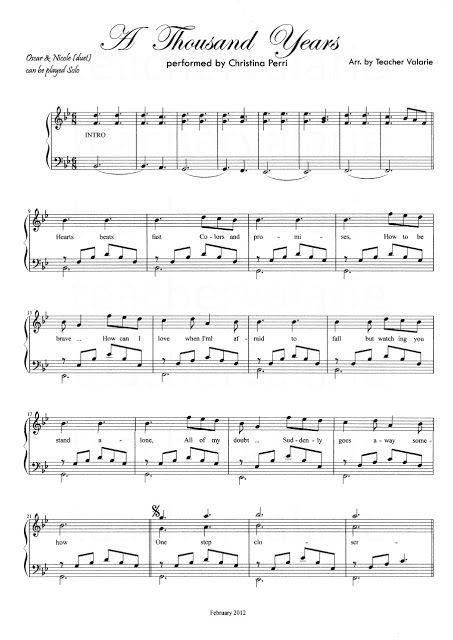Partituras Musicais A Thousand Years Christina Perri Para Piano