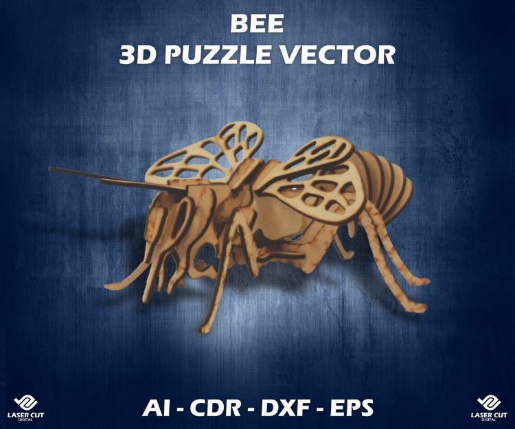 Bee wooden 3D puzzle design  For laser cut CNC  Insect vector