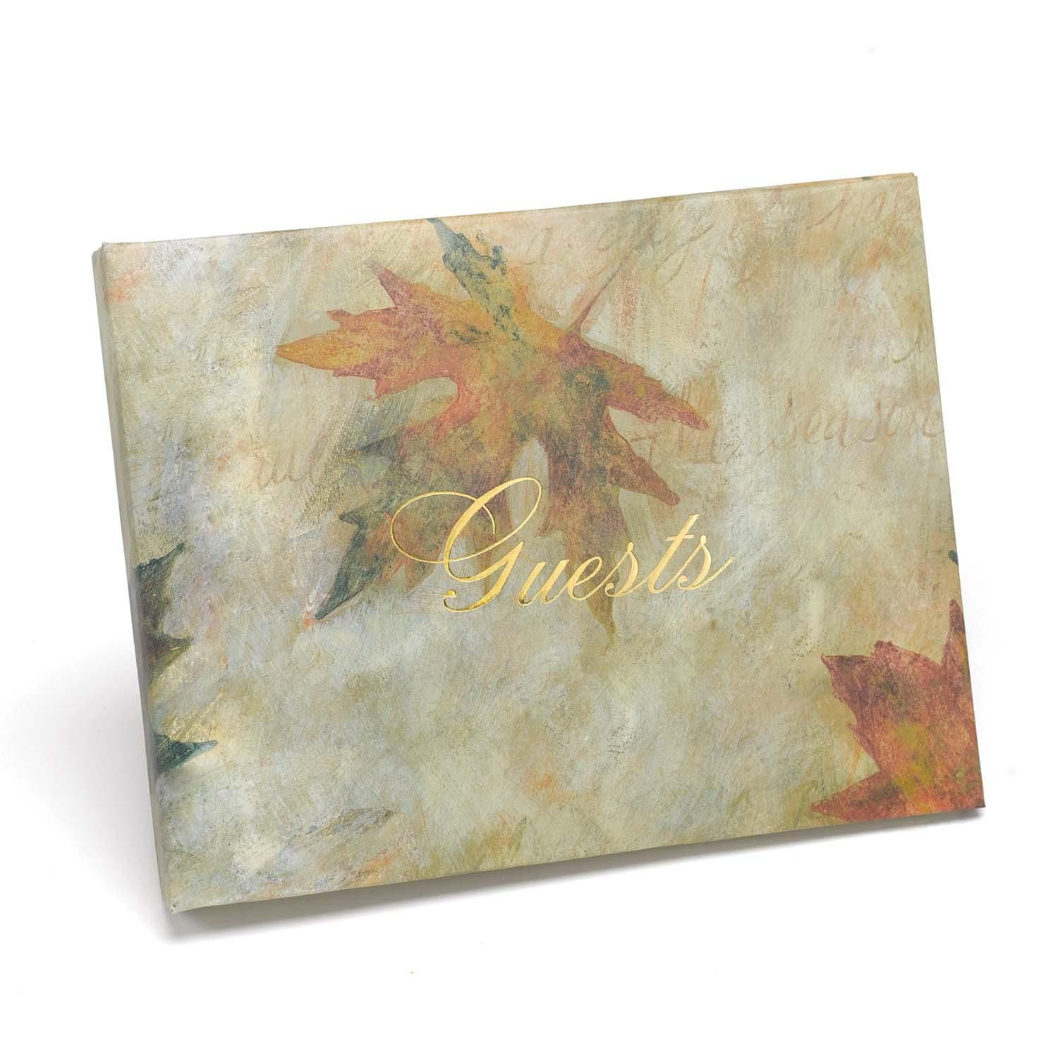 Maple Leaf Wedding Guest Book - Leaf design guest book with a ...