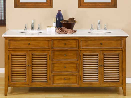 The Fairfield Double Vanity Features Angles Louvers On Its Cabinet - Louvered door bathroom vanity