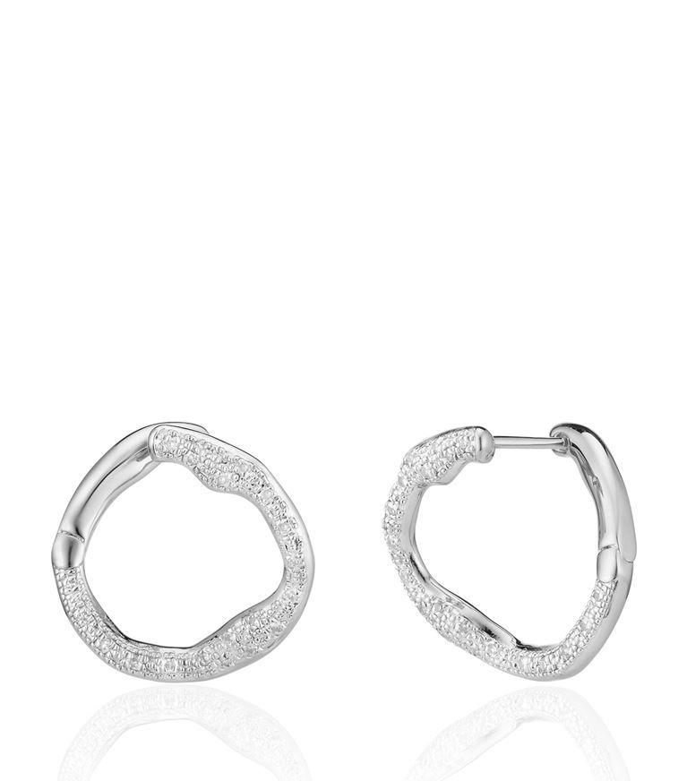 Monica Vinader Riva Sterling Silver Diamond Earrings 2ujlPiyIMU