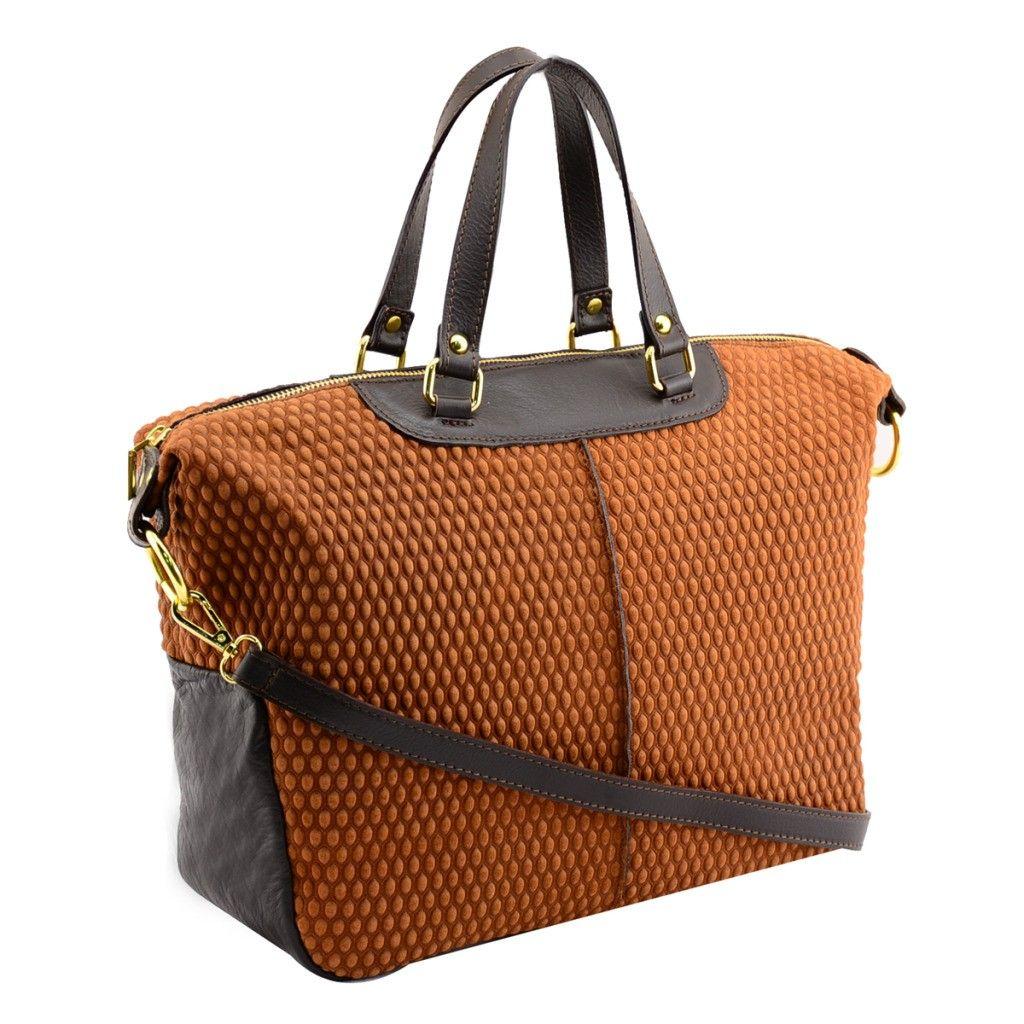 HS HS 0679 TN Calista Made in Italy Peabble Suede Tan/Espresso Satchel/Crossbody Bag