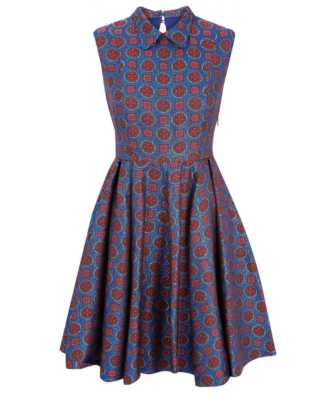 Синий и Красный печати платье без рукавов жаккард, Kenzo. Магазин ...