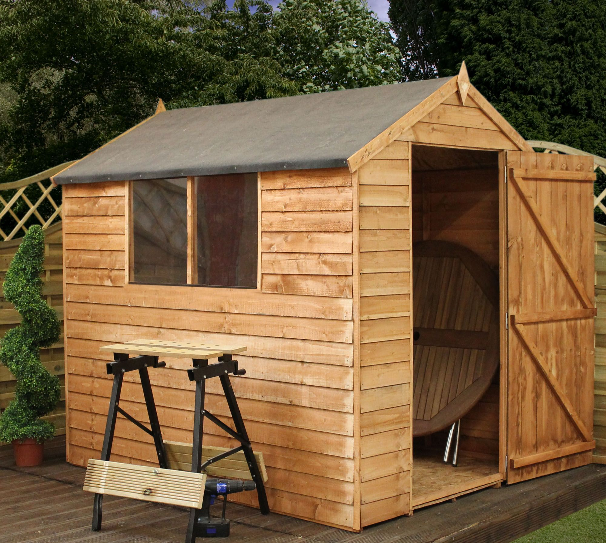 7 x 5 waltons overlap apex wooden shed on walton garden buildings