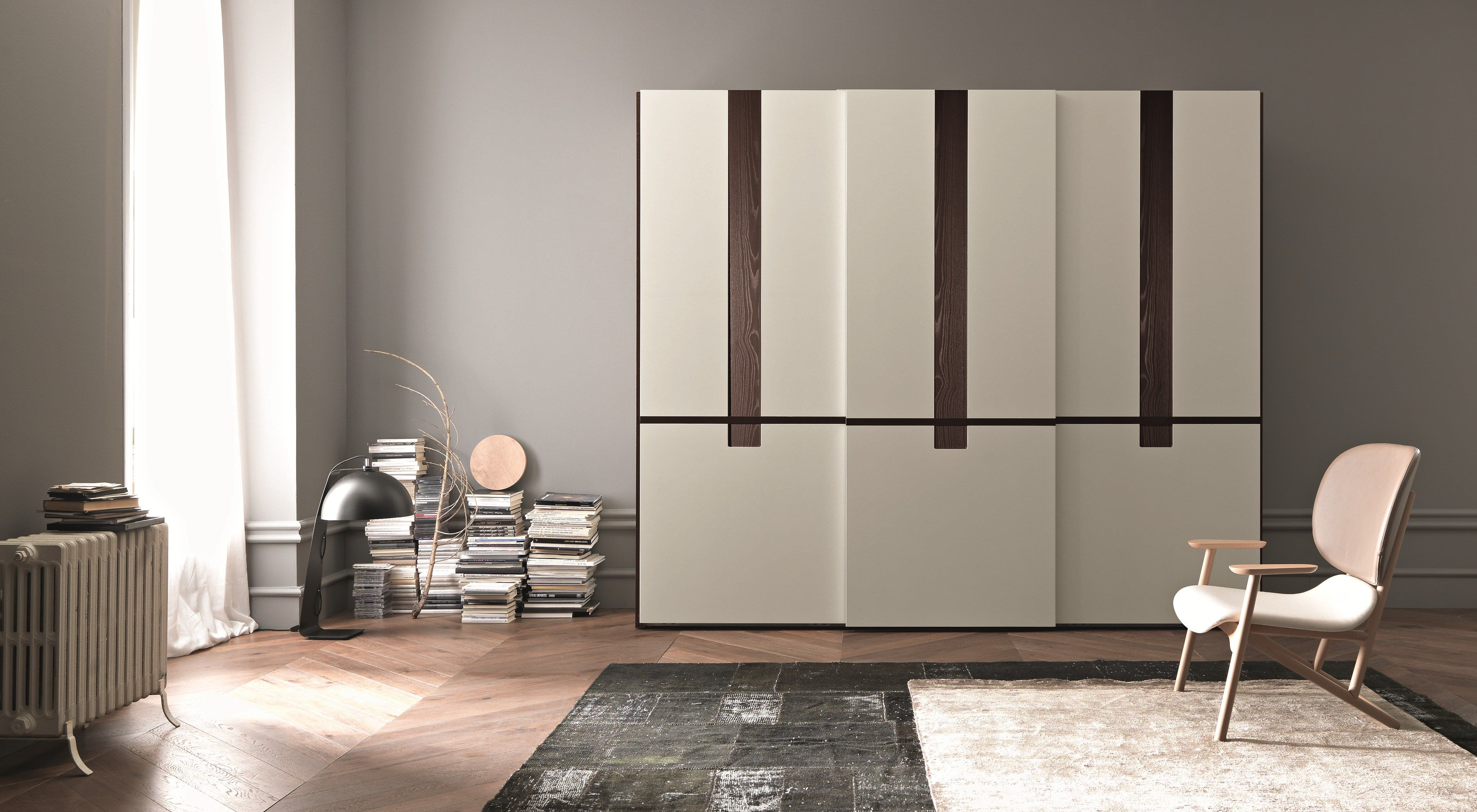 white lacquer modern wardrobe design come with wooden material