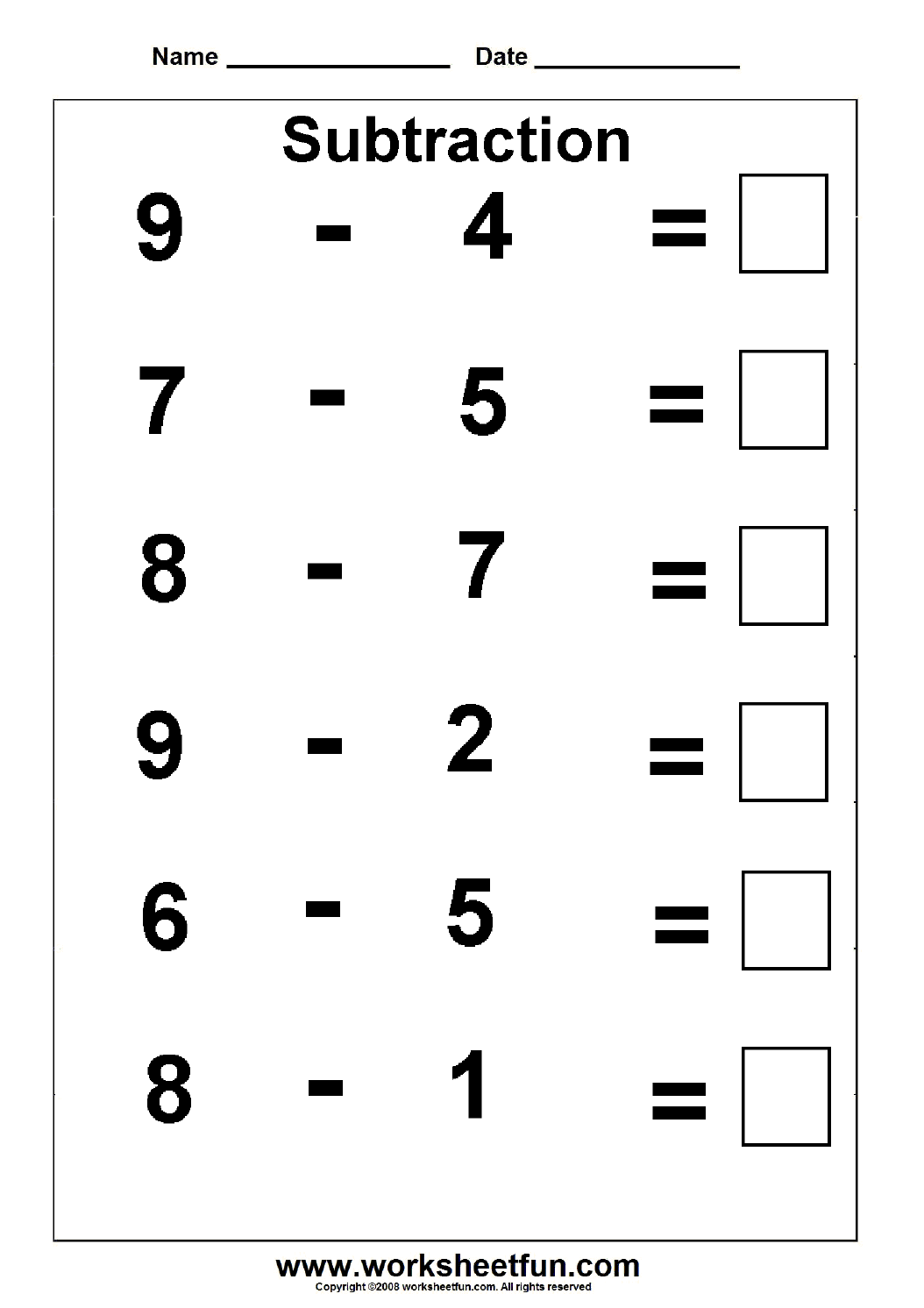 subtraction | Groep 3 | Pinterest | Subtraction worksheets ...