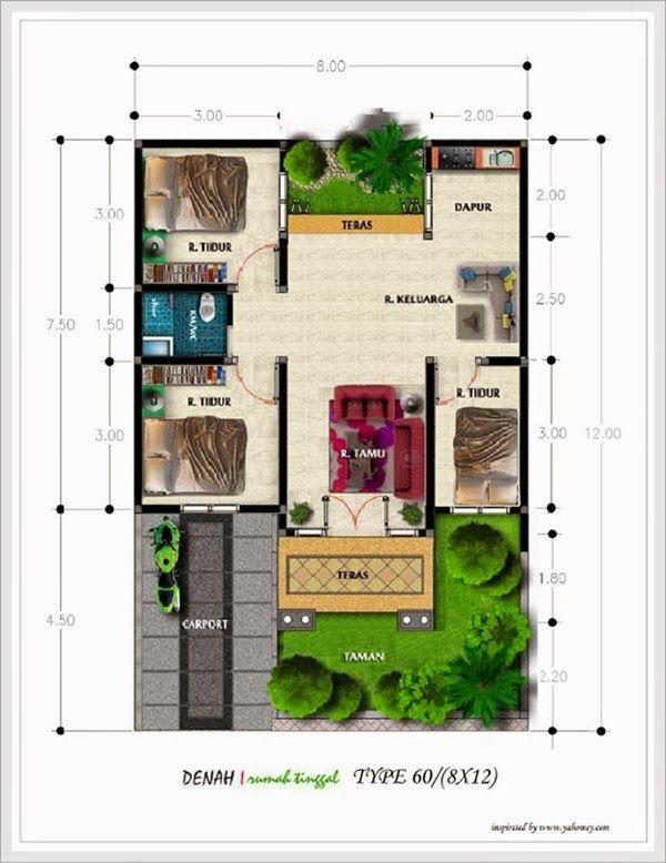 Desain Denah Rumah  Minimalis Tipe 60  Anderson