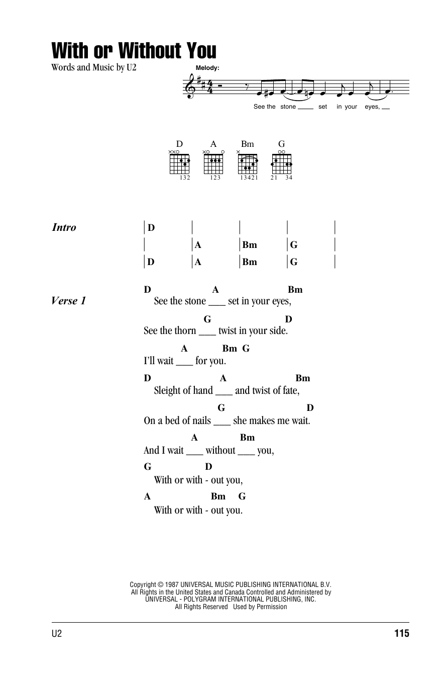 With or without you by u2 guitar chordslyrics guitar with or without you by u2 guitar chordslyrics guitar instructor hexwebz Image collections