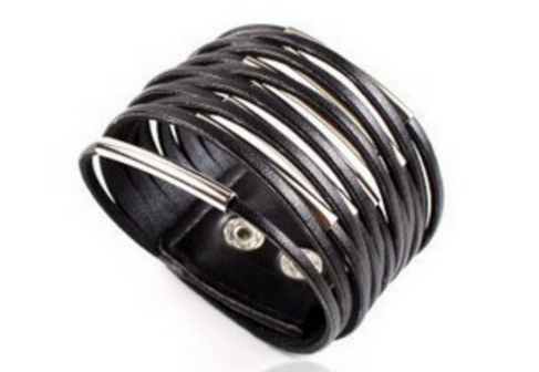 Hot Charm Multi-stranded Leather Bracelet With Metal Inserts For Men and Women