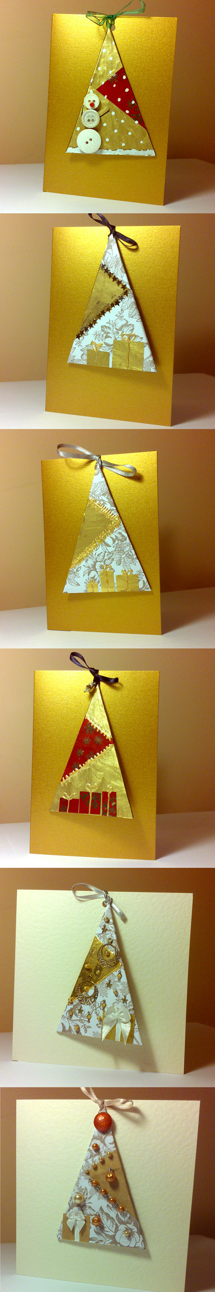 Handmade Christmas cards, includes a Christmas tree decoration | DIY | recycling used wrapping paper | repurposing old jewelry | gold and red