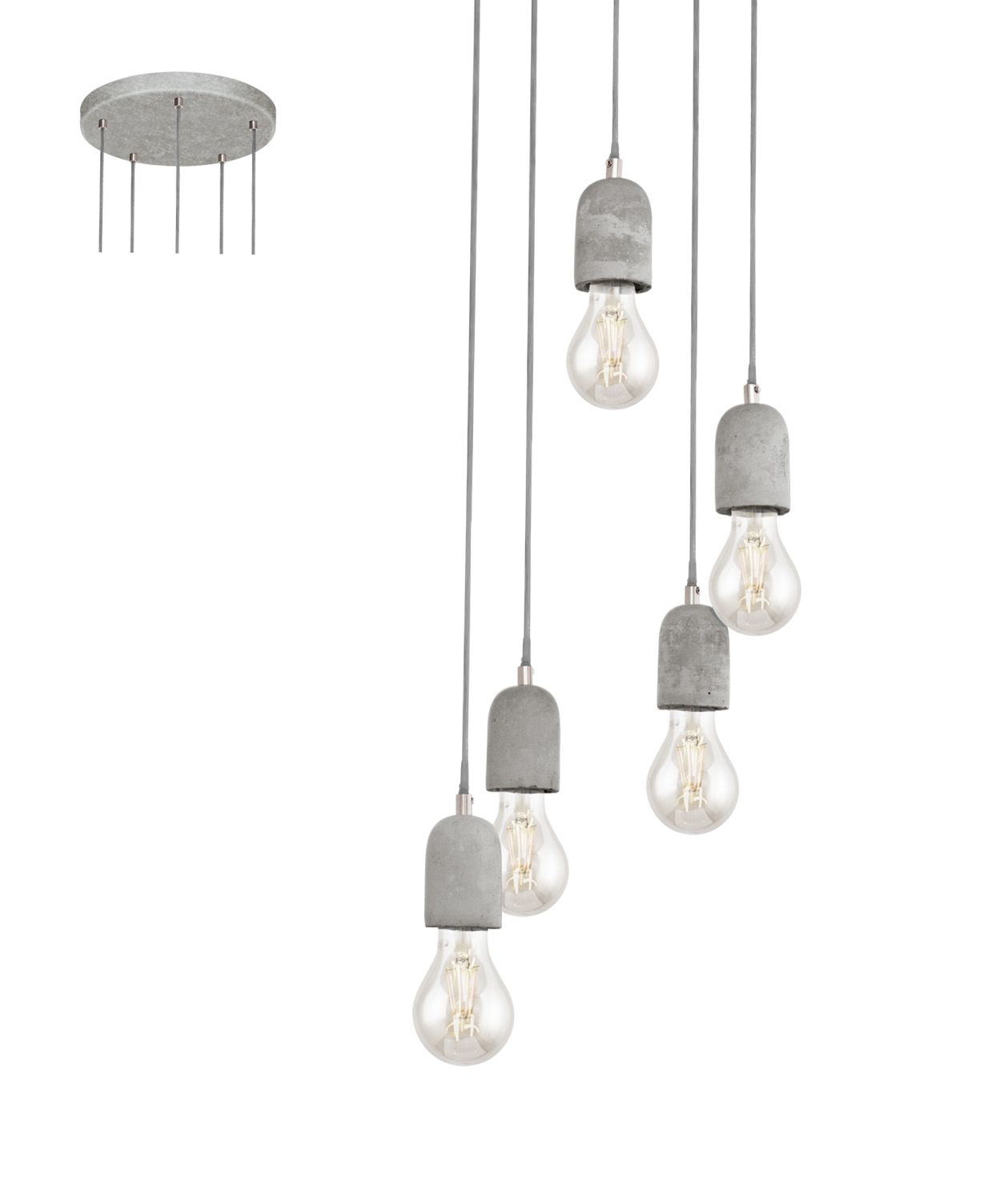 Cer Bare Bulb Pendant In Concrete