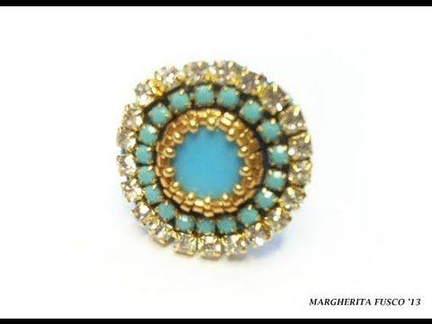 Tutorial anello con strass, tecnica embroidery. Come fare un anello all'embroidery con perline