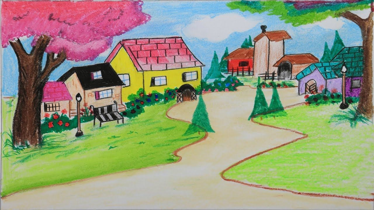 How To Draw A Beautiful Landscape Step By Step With Oil Pastel Very