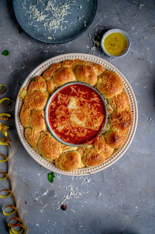 Monkeybread Kranz mit Käse Ein Silvester Snack
