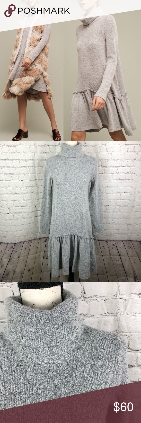 c95cdf789d24 Anthropologie Moth Eira Sweater Dress Excellent condition. Acrylic, wool  Turtleneck swing silhouette Dropwaist hem detail Pullover styling Hand wash  ...