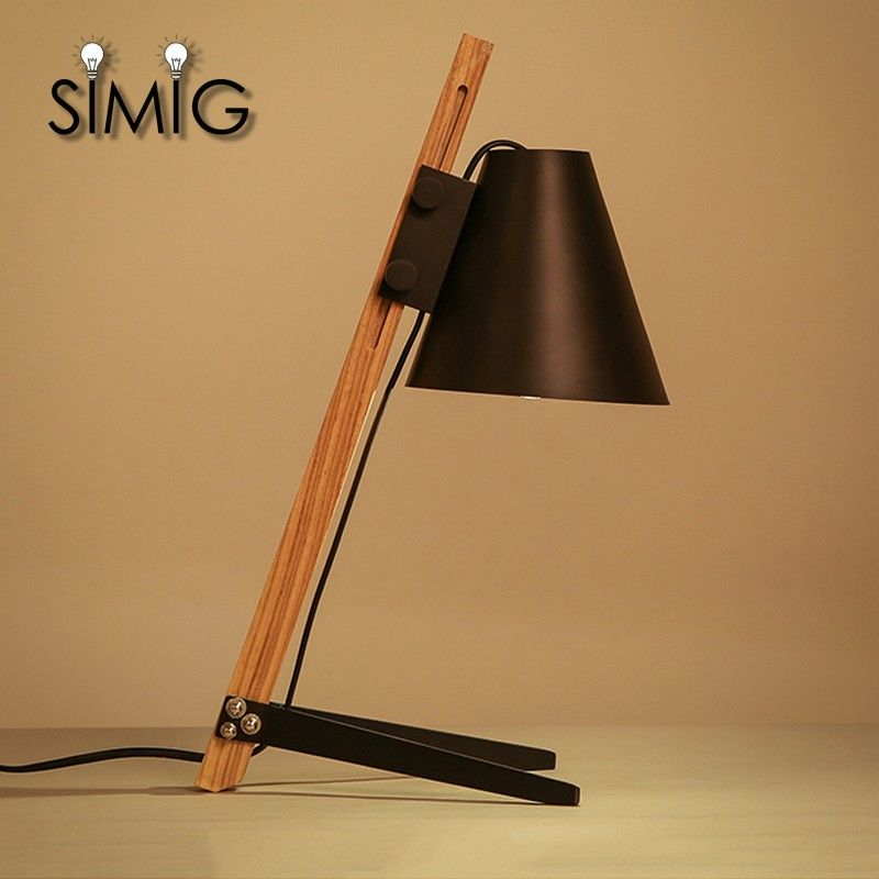 Photo of wooden, black and white color table lamp E27 holder adjustable height table lamp