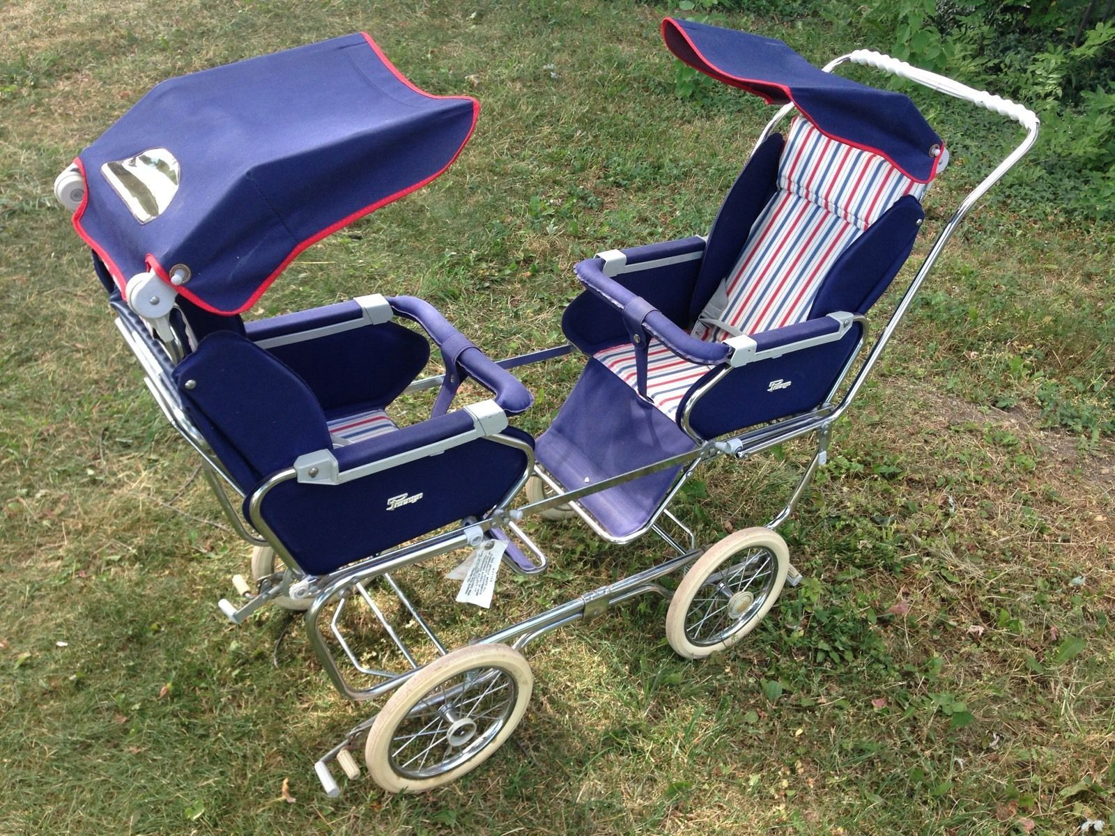 vintage 1950s italian peg perego double twin stroller. Black Bedroom Furniture Sets. Home Design Ideas