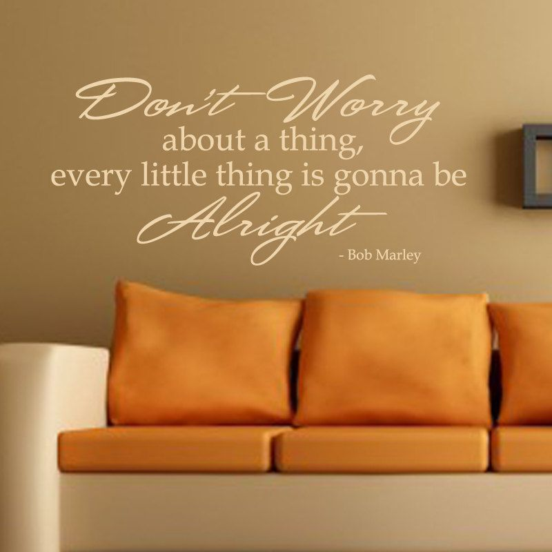 Bob Marley Wall Decal Vinyl Don\'t Worry Wall Quote Living Room ...