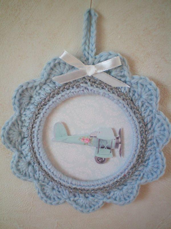cadre crochet bleu -avion - miniatures et petits objets - escrapbouillette's boutique - Fait ...