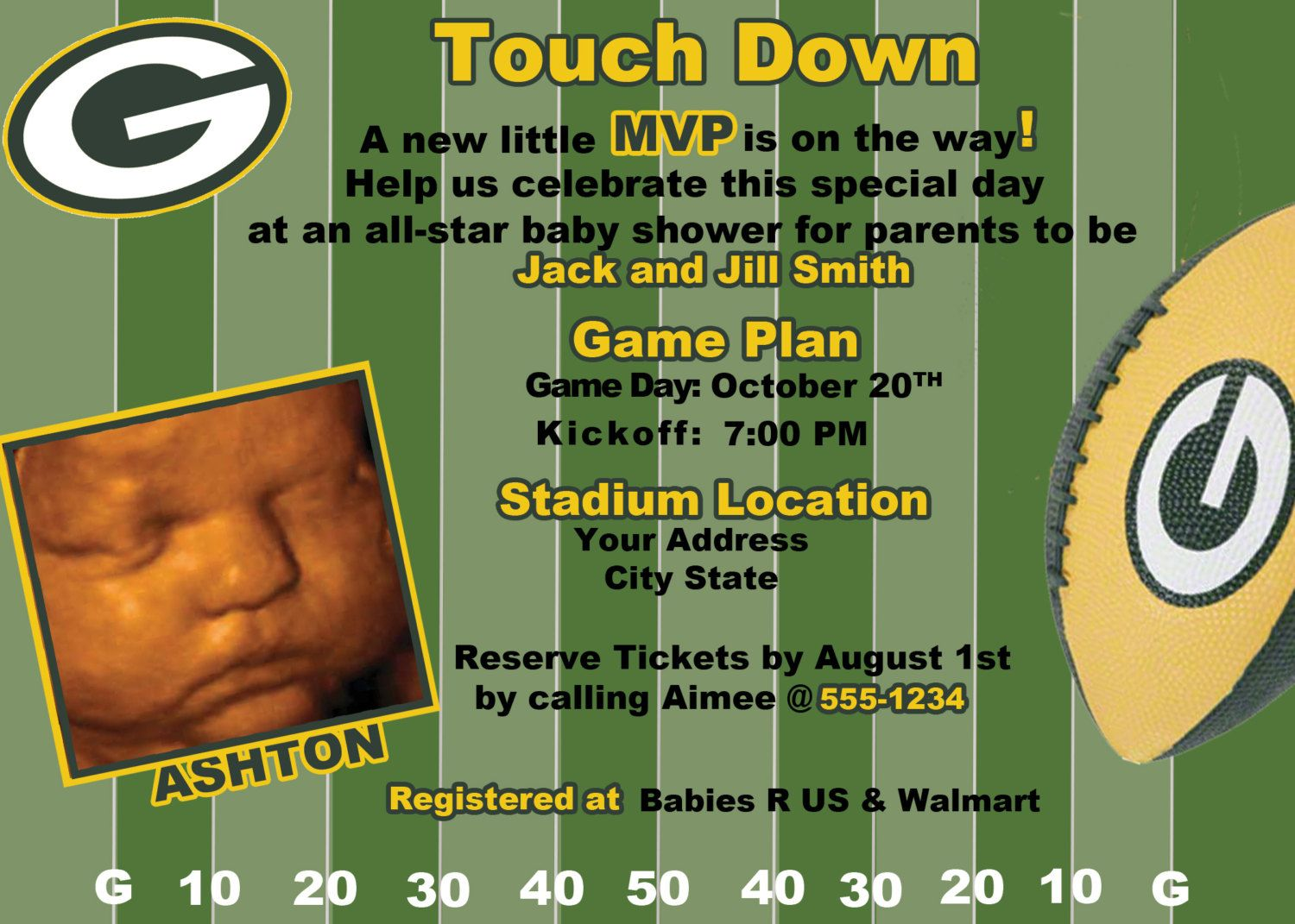 Green Bay Packers Football Baby Shower/Birthday Invitation. $19.99, Via  Etsy.