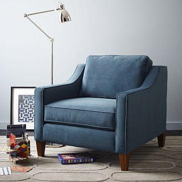 Paidge Chair Down Blend Performance Velvet Ink Blue Cone