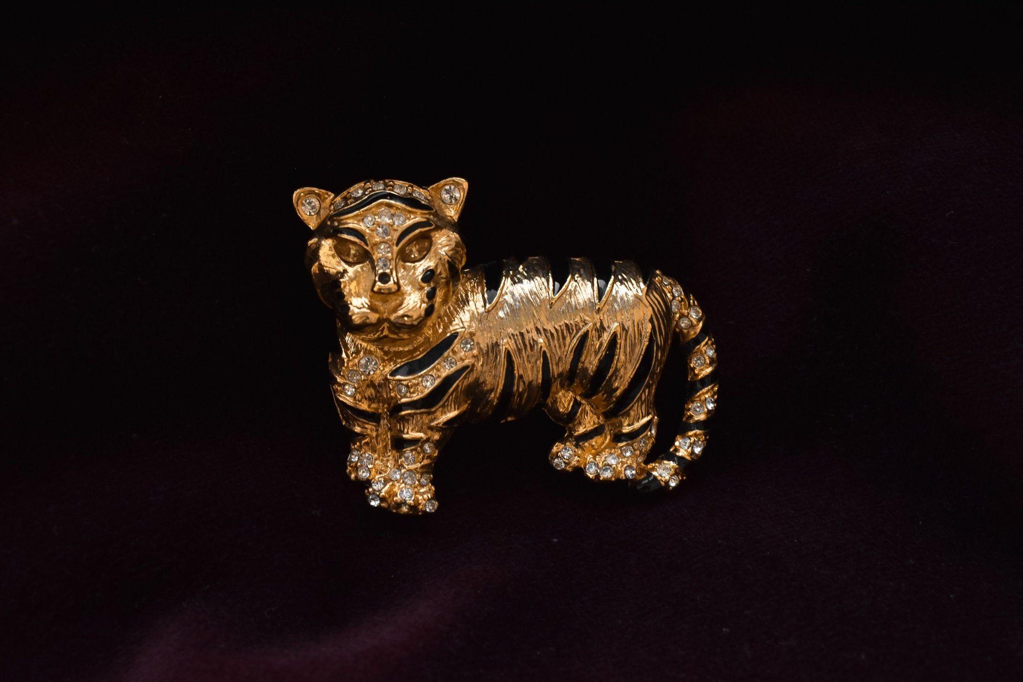 Vintage signed CRAFT  enamel rhinestone tiger brooch