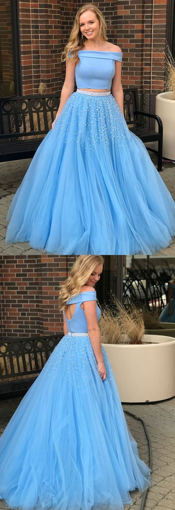 two piece long prom dress off the shoulder blue long prom