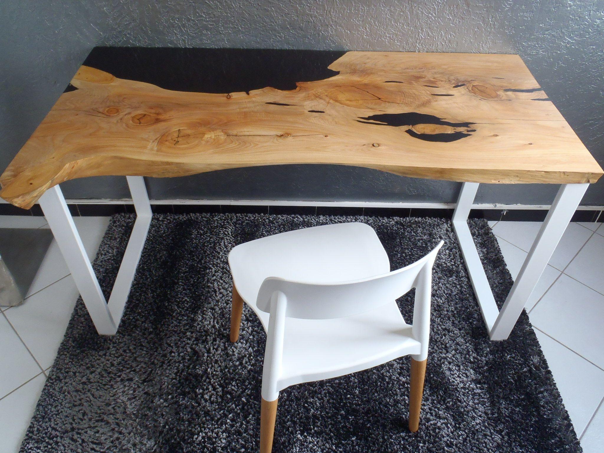 Bureau bois et résine wooden and resin desk table bois et résine
