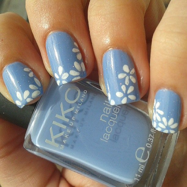 Light Blue Nail Art Ideas: Light Blue Mani With White Flowers Using Kiko 339