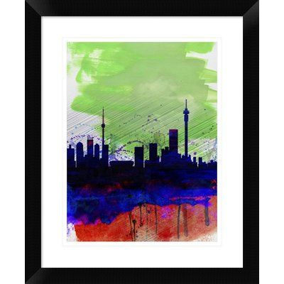 Naxart johannesburg skyline framed watercolor painting print size 22 h x 18