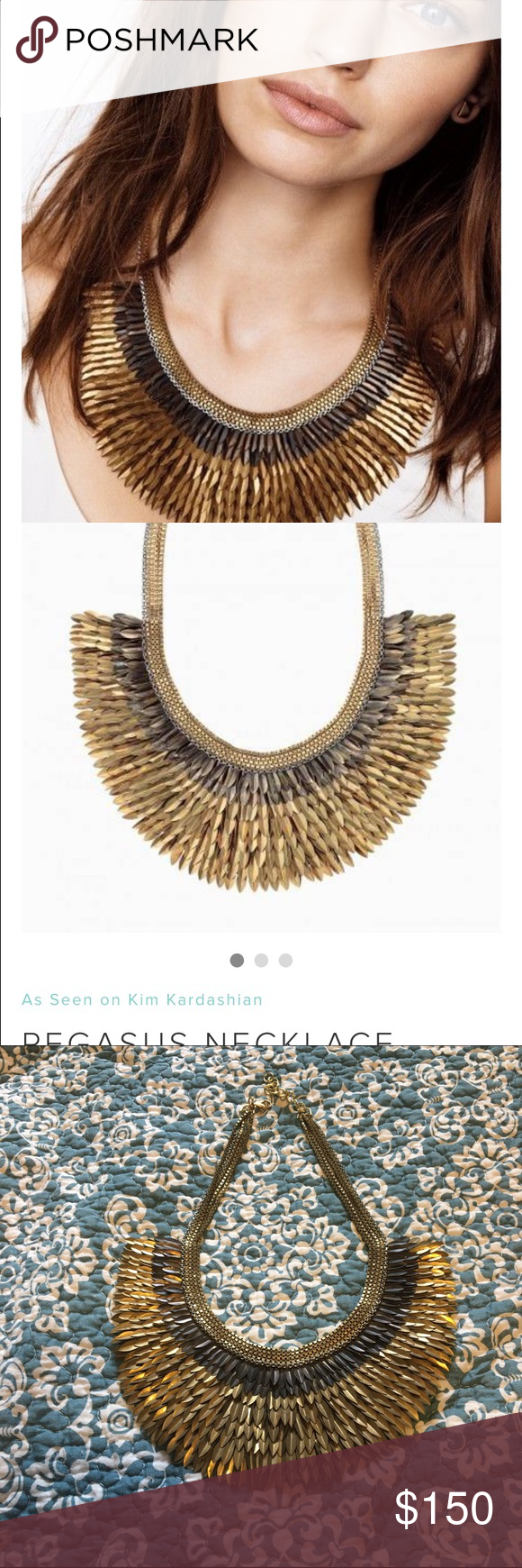 """Pegasus Necklace This was a gift from an ex that was not """"me"""" And therefore never worn.  The Stella and Dot description: A striking bib of gold feathers hand sewn to silk organza cascade. Made entirely by hand in India.  As seen on TV personalities Kathie Lee Gifford, Kim & Kourtney Kardashian, and actress Shay Mitchell. As seen in Lucky, InStyle, Real Simple and Timeout Magazine! 4"""" of chain on each side with a 2"""" extender. 16 1/2"""" length. Lobster clasp. Stella & Dot Jewelry Necklaces"""