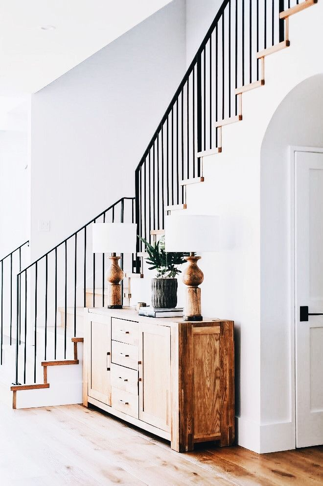 Best Black And White Organic Natural Wood Wood Stairs Metal 400 x 300