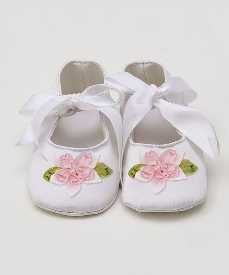 White & Blush Flower Soft Sole Mary Jane