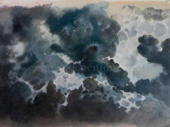 Nuage Gris Art Ooak Peinture Aquarelle Originale De Ciel Nuageux