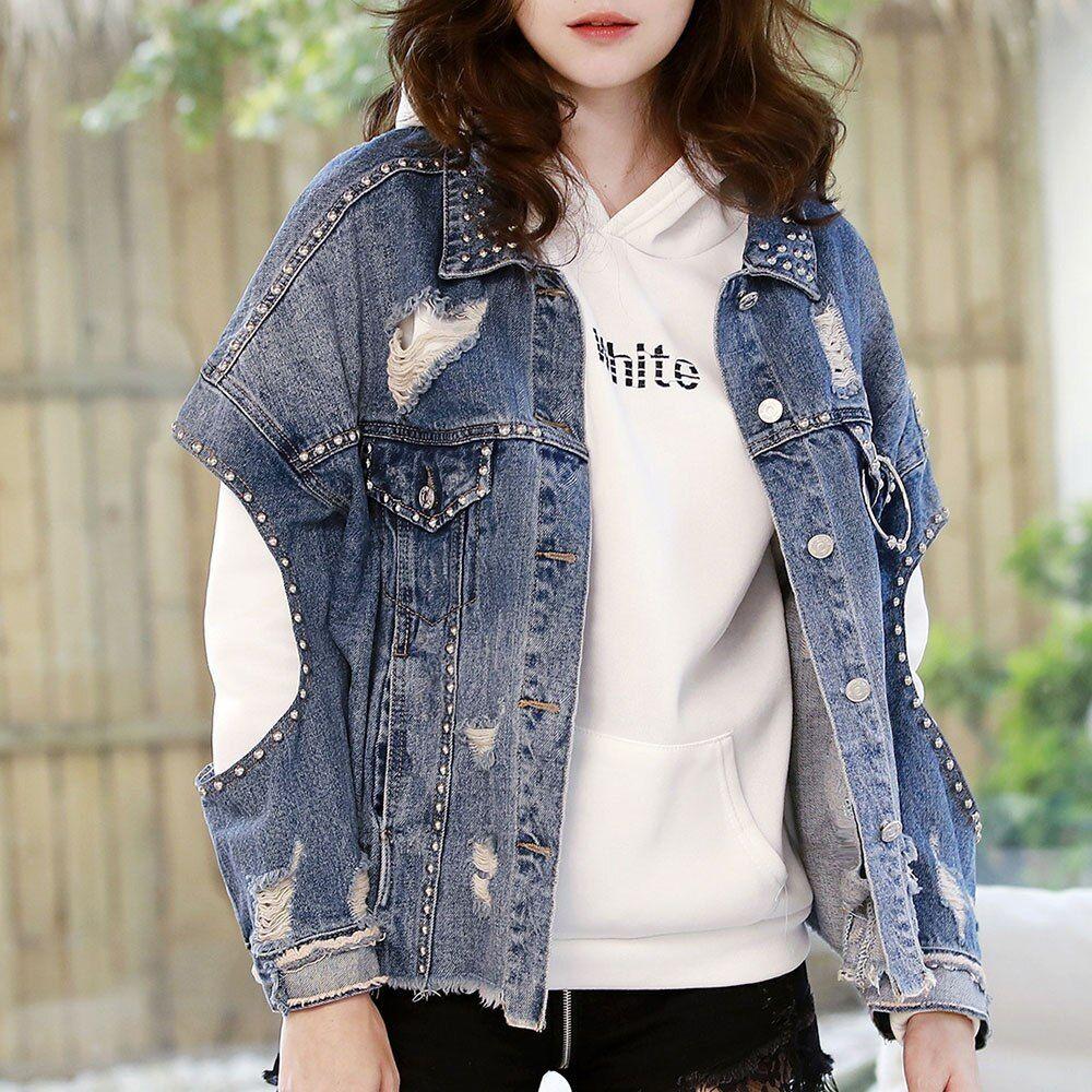 2020 Fashion Denim Jacket For Women Slim Autumn Ripped Holes Jean Coat Patchwork Bf Style Outwear Coats And Sho In 2020 Denim Jacket Fashion Denim Fashion Outwear Coat [ 1000 x 1000 Pixel ]