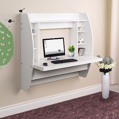 Wall Mount Computer Pc Desk Floating Home Office Table Shelves Storage Folding Wall Mounted Computer Desk Computer Desk Home Office Table