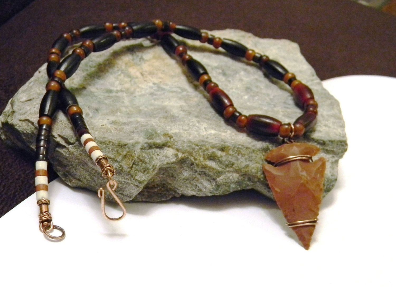Jasper Arrowhead Pendant Necklace Horn Pipe by PenningtonRustica