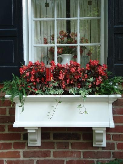 Mayne Yorkshire 12 In X 36 In Vinyl Window Box 4823w The Home Depot Window Box Window Box Flowers Front Porch Decorating