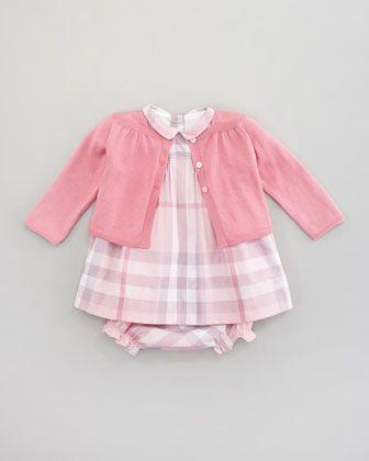 ca7dfed69038 Burberry Knit Cardigan   Check Dress - Neiman Marcus
