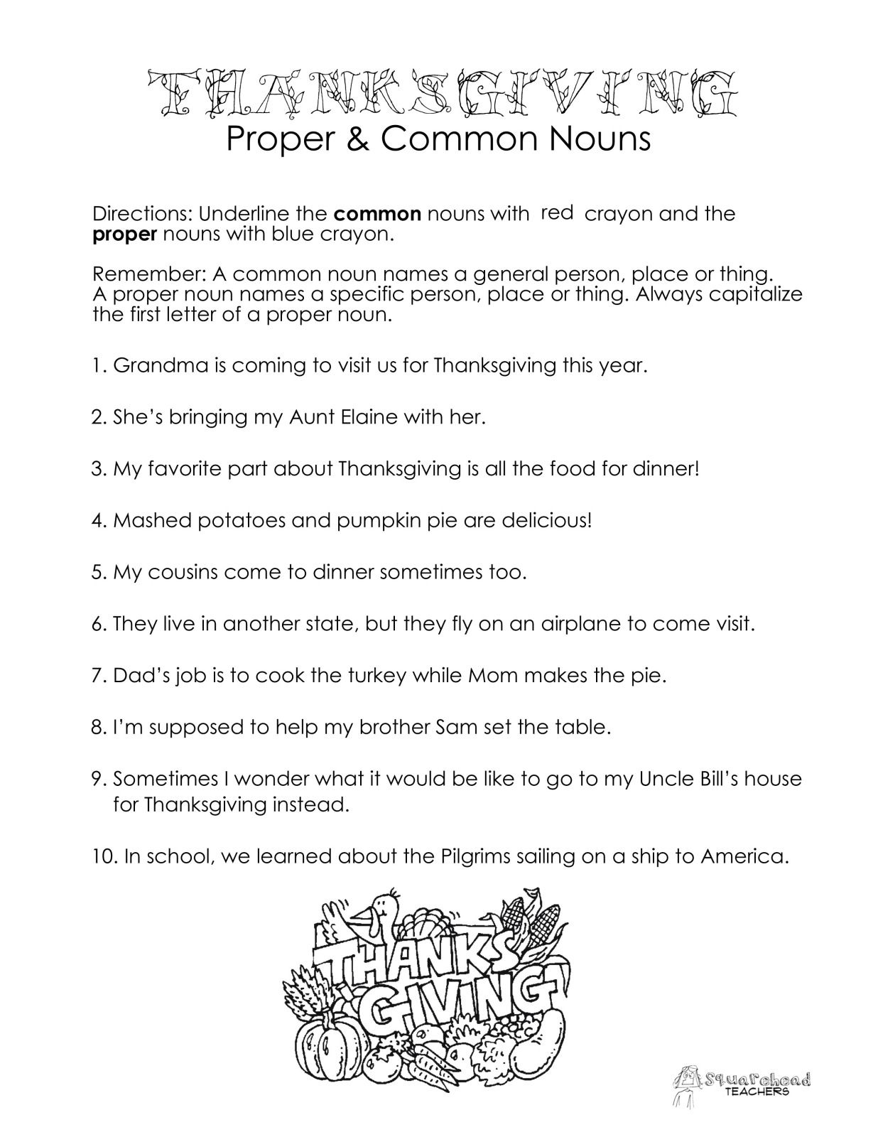 Thanksgiving Common Vs Proper Nouns Worksheet